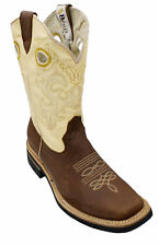 MEN'S RODEO COWBOY BOOTS GENUINE LEATHER WESTERN SQUARE TOE BOTAS-CARR 721