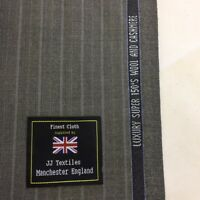 CHARLES CLAYTON Grey Stripe (2) Super 150's & Cashmere Suit fabric.(260/280g)