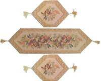 DaDa Bedding Wildflower Floral Beige Tapestry Place Mat Table Runners Set 3PCs