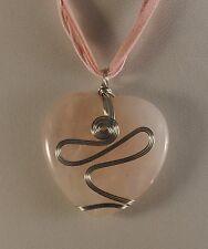 Rose Quartz Gemstone Filigree Heart Pendant Necklace