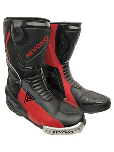 REVOKO Motorbike Leather Shoes Riding Leather Motorcycle Racing Boots