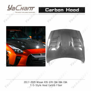 Carbon Fiber Glossy Bonnet For 2017-2020 Nissan R35 GTR EBA TS-Style Hood