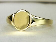 14k Yellow Gold High Polish Band Fine Signet Child Pinkie Ring-Size 3