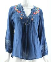 NWT $260 Johnny Was Blue Floral Embroidered Tie Neck Chelsee Blouse Medium