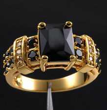 Size 9/S Deluxe Black Sapphire 10KT Gold Filled Womens Love Wedding Band Ring