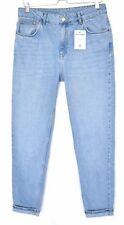Topshop MOM High Waisted MID BLUE Relaxed Tapered Crop Jeans Size 14 W32 L34