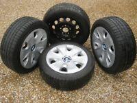 """Genuine BMW 1 Series 16"""" Wheels Pirelli Winter Tyres 36116777784 Steel Hub caps"""