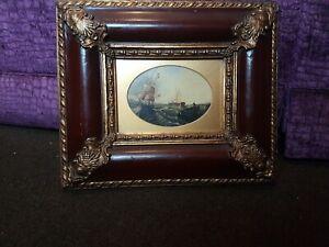 Antique old original oil painting, framed