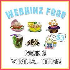 PICK 3 Webkinz VIRTUAL FOOD ITEMS - Hundreds to choose from! - LIST IN DESC