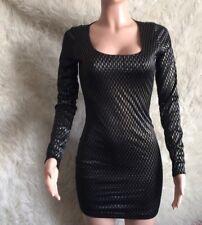 Wet Seal Black & Gold Mesh Back Mini Dress Sz M Org $55