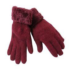 Gants Femme Angora Laine Lapin Rouge Bordeaux Teddy Peluche Doublé hiver 100