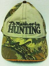 """""""I'd Rather Be Hunting"""" Velcro Camo Ball Cap Hat - NEW - HUNTER CAMO Hat"""