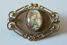 Vintage Glass Virgin Mary & Baby Jesus Gold & Rhinestone Pin Brooch Religious