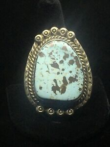 Gorgeous Handmade Navajo Dry Creek Turquoise Sterling Silver Ring- Size 10