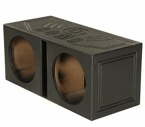 "QPower QBOMB12V Dual 12"" Vented Ported Subwoofer Sub Box with Bedliner Spray"