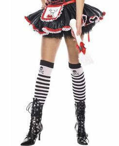 New Music Legs 4795 Striped Opaque Thigh High Stockings With Cross Bone