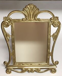 """Brass Tabletop Mirror Vanity Lacquered Ornate Easel Back Decorative Crafts 15.5"""""""