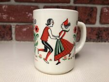 Berggren Swedish Scandinavian Coffee Mug Retro Dancing Couple Design Floral