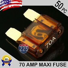 50 Pack 70A AMP Gold Large Blade Style Audio Maxi Fuse Car 12V 24V 32V Auto US