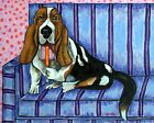 Basset hound Licking a popsicle picture  DOG ART NOTE CARDS