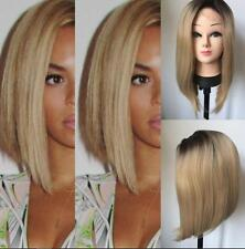 Cosplay Short Heat Resistant Synthetic Hair Lace Front Bob Wigs Ombre Blonde Wig