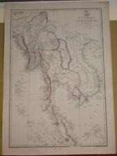 SINGAPORE SOUTHEASTERN ASIA 1863 WELLER/DISPACH ATLAS ANTIQUE LITHOGRAPHIC MAP