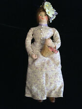 Vintage 1979 Dollhouse HANDMADE VICTORIAN WOMAN Poseable DOLL signed BRAND NEW