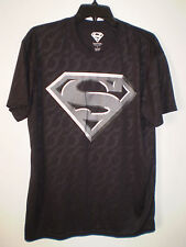 SUPERMAN Men's Short Sleeve Performance T Shirt (L LG) BLACK Gray Logo DC COMICS