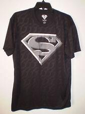 SUPERMAN Men's Short Sleeve Performance T Shirt (L LG) BLACK Gray Logo DC COMICS