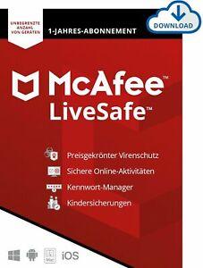 McAfee Live Safe 2021 / 1 oder Unbegrenzt PC - Geräte 1 oder 3 Jahre Vollversion
