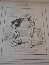 Caricature 1887 - A la Mer qu'est ce qu'elle peut bien serrer la dedans ?