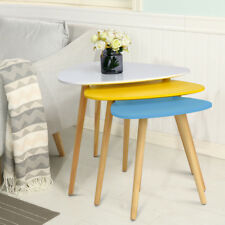 Nest of 3 Scandinavian Nesting Side Table Retro Coffee Tea Tables Modern  Wooden
