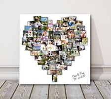 Personalised Heart Shape Collage Canvas Picture Print - wedding birthday holiday