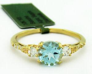 GENUINE 1.18 Cts AQUAMARINE, SAPPHIRE & DIAMONDS RING 10k GOLD *Free Certificate