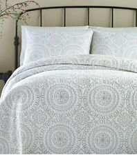 Jessica Simpson Cotton Medallion Gray King Quilt