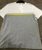 Calvin Klein Men's SZ Large Pima Cotton short sleeve Gray White Yellow  T-Shirt