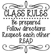 CLASS RULES Vinyl Wall Art Decal Wall Lettering Quote Words Classroom Teacher