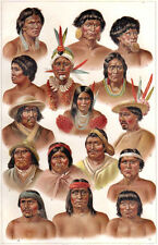 INDIGENOUS AMERICAN PEOPLE TRIBES 1885 vintage original Chromolithograph print 2