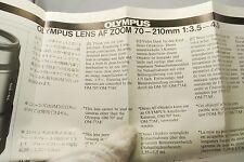 Olympus Lens AF Zoom 70-210mm f3.5-4.5 Instraction Manual 7217065