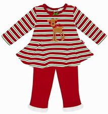NEW Le Top Baby Girl Christmas Reindeer Top & Fur Trim Pants Size 3 Months NWT