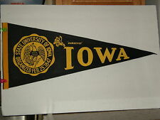 Vintage Full Size Late 60s Early 70s University of Iowa Hawkeyes Pennant Flag