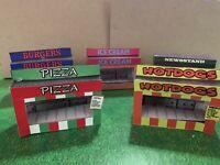 Model Train O Scale Food Stand Kits - 5 w/ Interiors Hot Dog Hamburger Newsstand