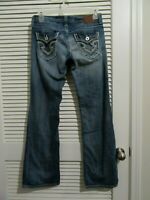 Big Star Jeans blue denim womens size 28 R Sweet Boot ultra low rise