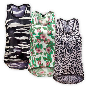 Womens Ladies Racer Back Printed Lightweight Vest Top Relaxed Fit Casual T-Shirt