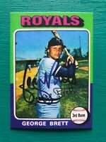 1975 Topps GEORGE BRETT Royals REPRINT Autographed MLB Baseball Rookie Card #228