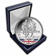 British Virgin Islands 2012 Olympics Football Coloured Unc. CuNi Coin in a box