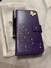 Case stylish folio - samsung galaxy s7 edge - purple with butterfly