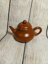 Small Chinese Yixing Orange Red Ceramic Teapot with Mark - Glazed Smooth Look