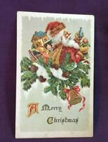 * 1921 A MERRY CHRISTMAS Postcard Santa Claus and Bag of Toys