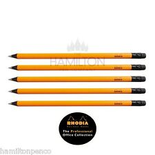 RHODIA set of 5 black linden wood pencils - HB grade with erasers